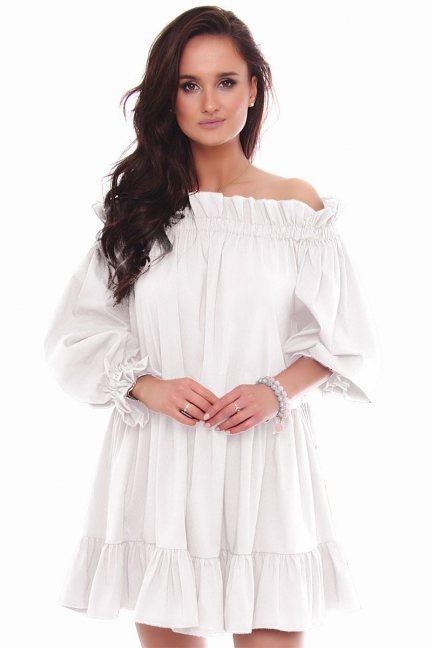 Sukienka mini odkryte ramiona biała