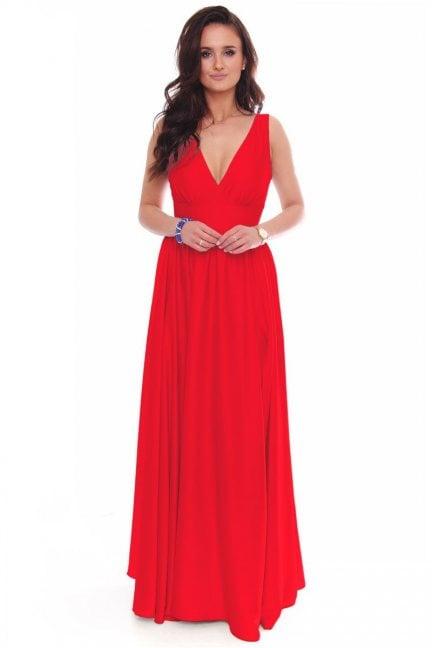 Sukienka modna maxi z dekoltem czerwona