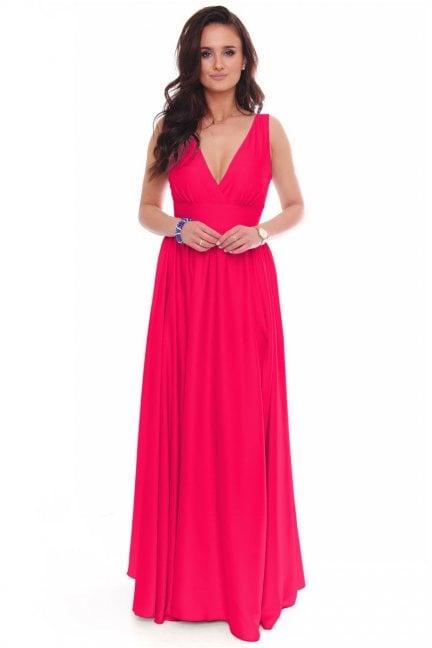 Sukienka modna maxi z dekoltem fuksja