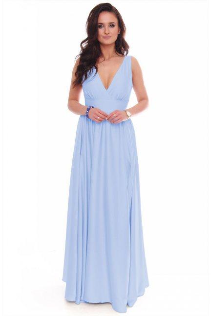 Sukienka modna maxi z dekoltem błękitna