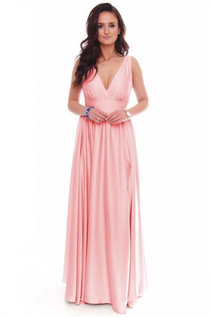 Sukienka modna maxi z dekoltem różowa