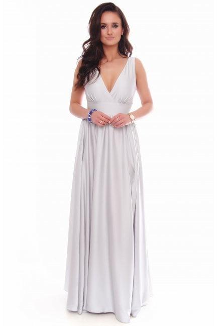 Sukienka modna maxi z dekoltem szara