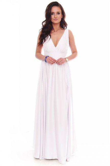 Sukienka modna maxi z dekoltem ecru