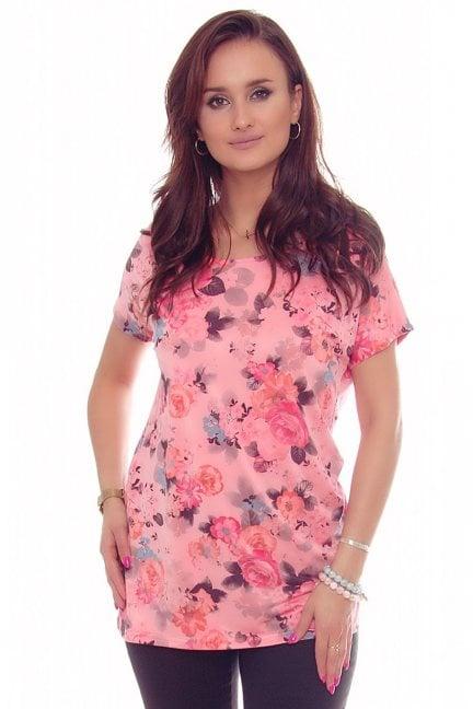 Bluzka tunika w kwiaty CM153 różowa