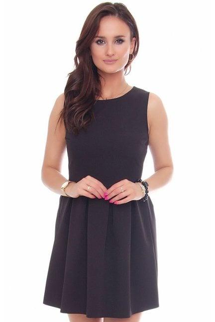 Sukienka z koła zakładki czarna