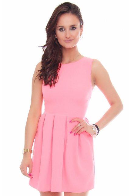 Sukienka z koła zakładki neonowy róż