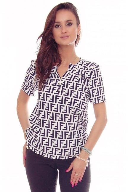 Bluzka modna z guzikami wzór biała