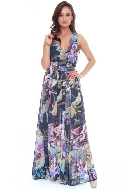 Sukienka maxi w kwiaty dekolt granatowa