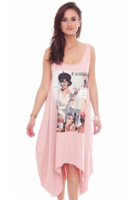 Sukienka tuba nadruk dłuższy tył różowa