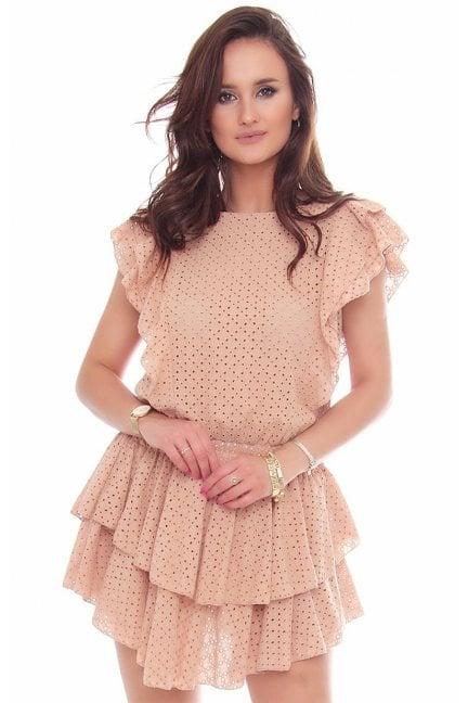 Sukienka bawełniana mini falbanki camel