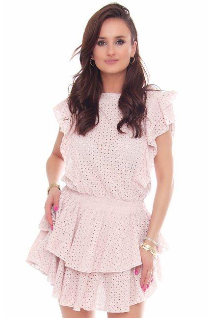 Sukienka bawełniana mini falbanki różowa