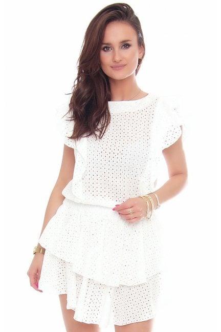 Sukienka bawełniana mini falbanki biała