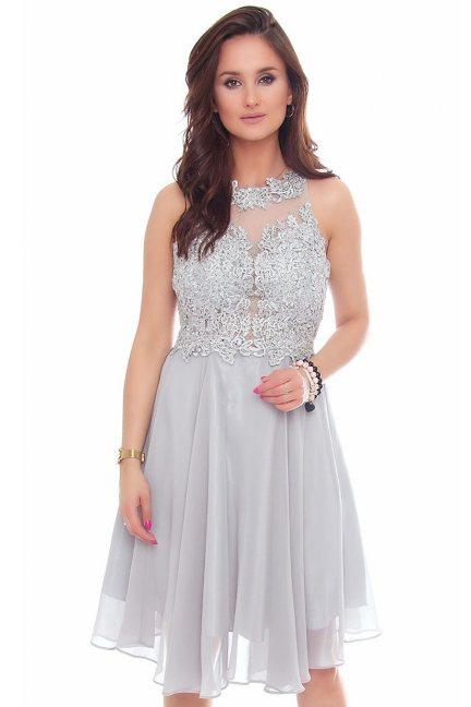 Sukienka tiulowa midi z koronką szara