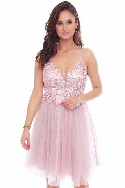 Sukienka elegancka z gipiurą tiul różowa