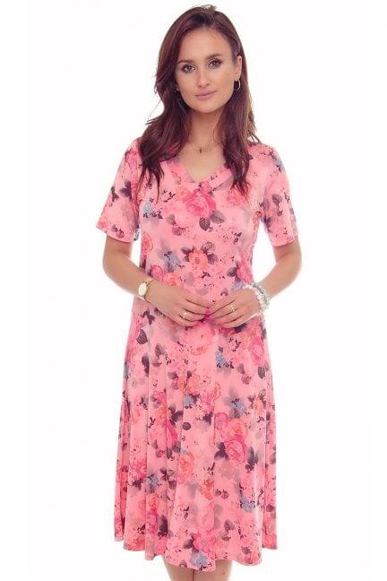 Sukienka modna w kwiaty dekolt różowa
