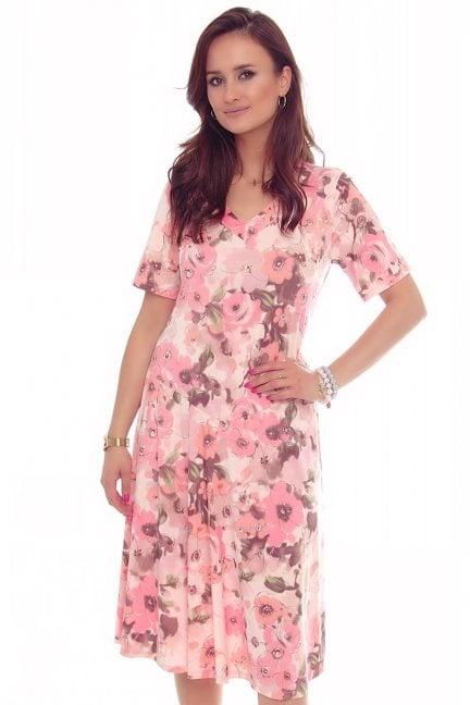 Sukienka damska w kwiaty dekolt różowa