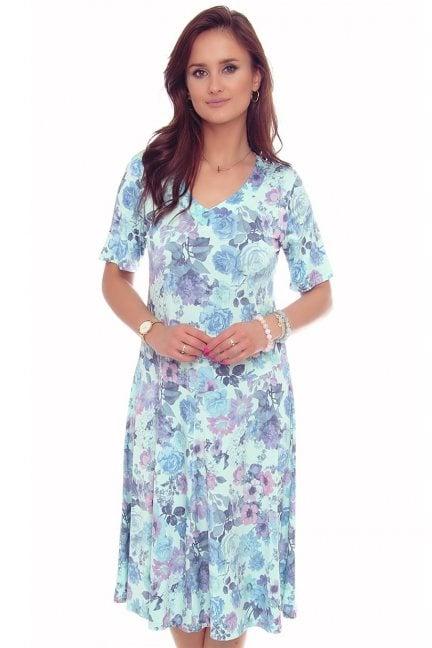 Sukienka modna w kwiaty dekolt niebieska