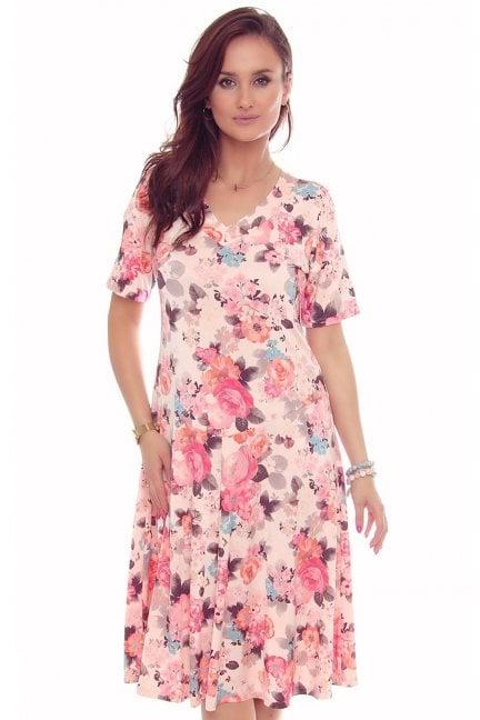 Sukienka modna w kwiaty dekolt puder