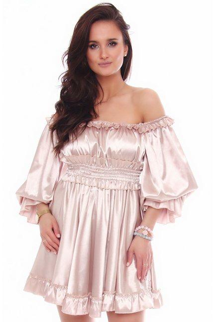 Sukienka mini satynowa falbanki beżowa