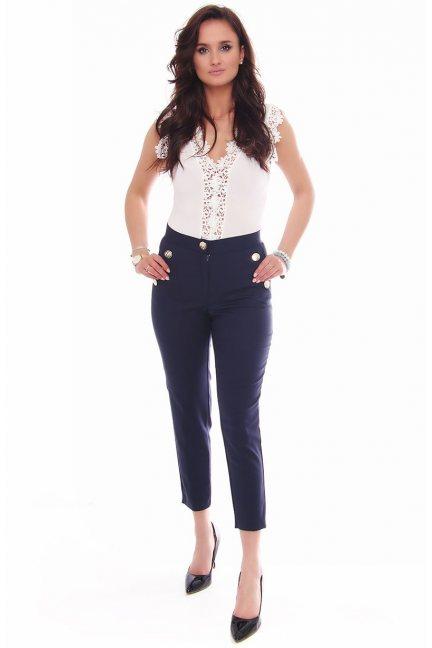 Spodnie eleganckie z guzikami granatowe