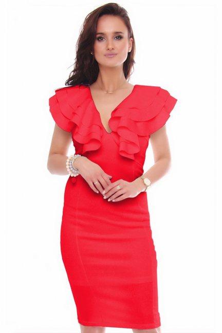 Sukienka elegancka midi ołówkowa czerwona