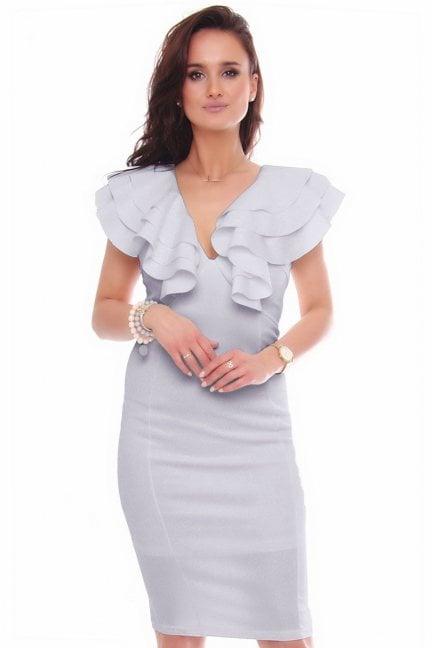 Sukienka elegancka midi ołówkowa szara