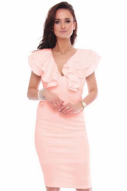Sukienka elegancka midi ołówkowa różowa