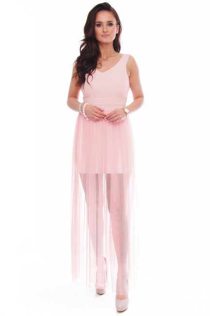 Sukienka maxi rozporek tiulowa różowa