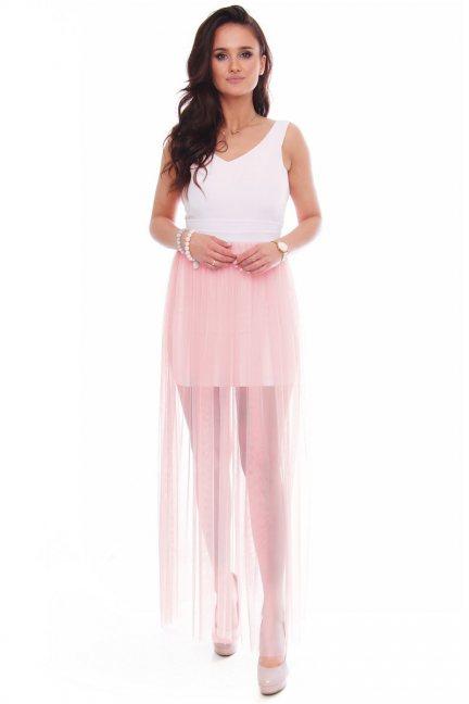 Sukienka maxi z rozporkiem tiulowa biała