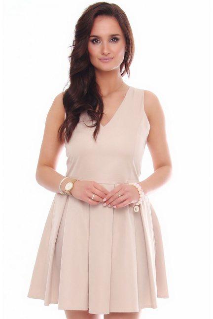 Sukienka mini z dekoltem CM302 beżowa