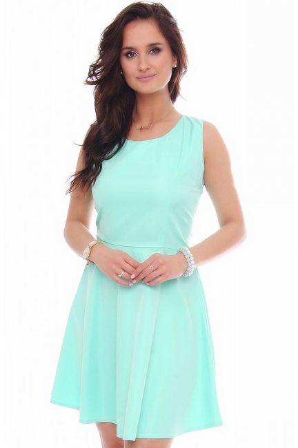 Sukienka mini rozkloszowana miętowa