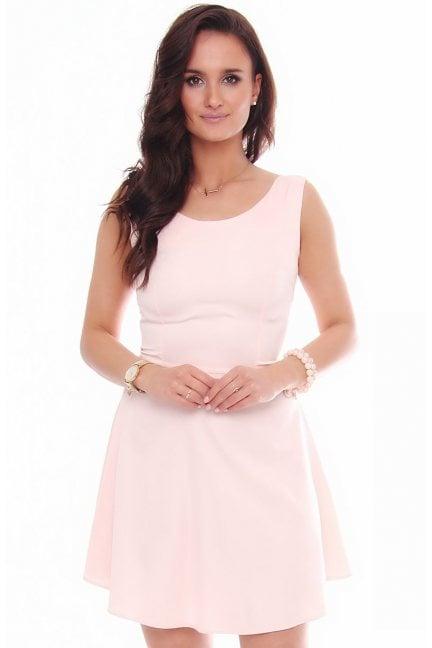 Sukienka mini rozkloszowana różowa