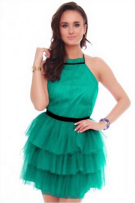 Sukienka damska mini z szyfonu zielona