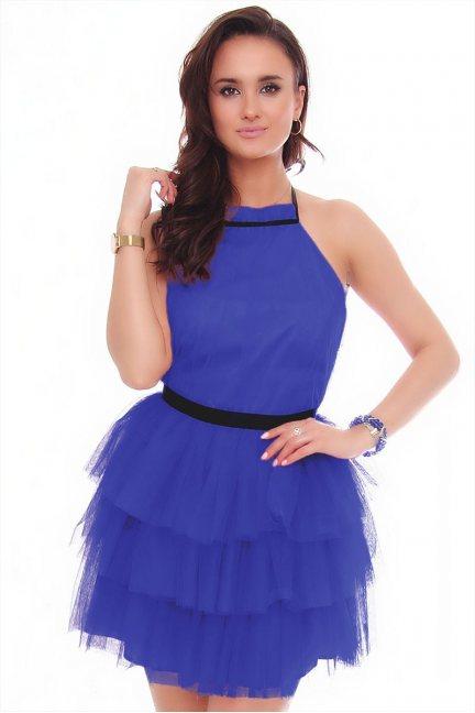 Sukienka damska mini z szyfonu chabrowa