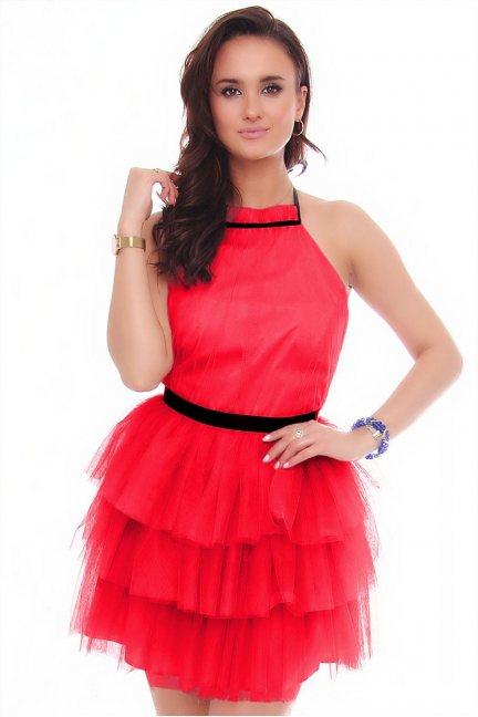 Sukienka damska mini z szyfonu czerwona