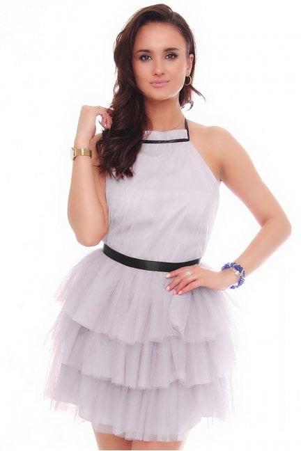 Sukienka damska mini z szyfonu szara