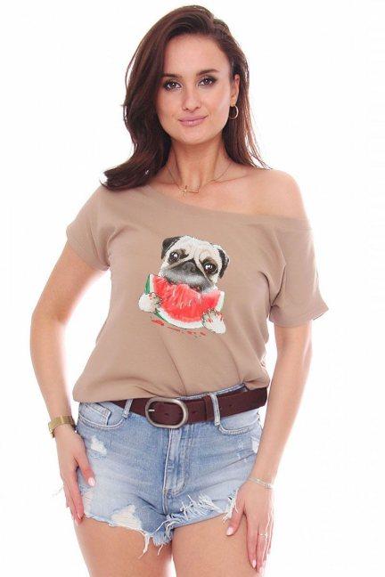 T-shirt bawełniany aplikacja Dog beżowy