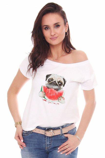T-shirt bawełniany aplikacja Dog biały