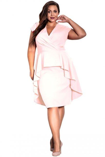 Sukienka elegancka mini z dekoltem różowa