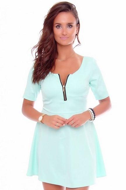 Sukienka z koła suwak gładka CM107 miętowa
