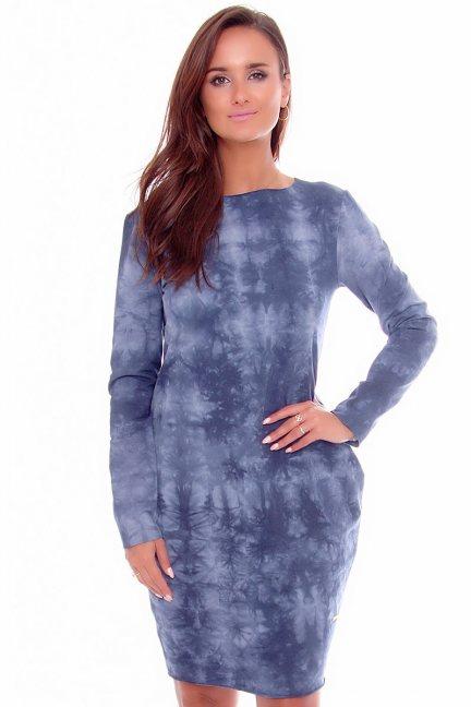 Sukienka dresowa marmurek niebieska