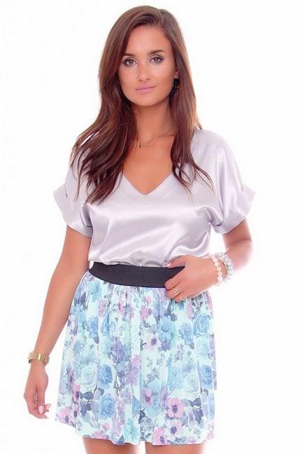 Spódnica modna w kwiaty CM141 niebieska