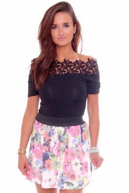 Spódnica modna w kwiaty CM141 różowa