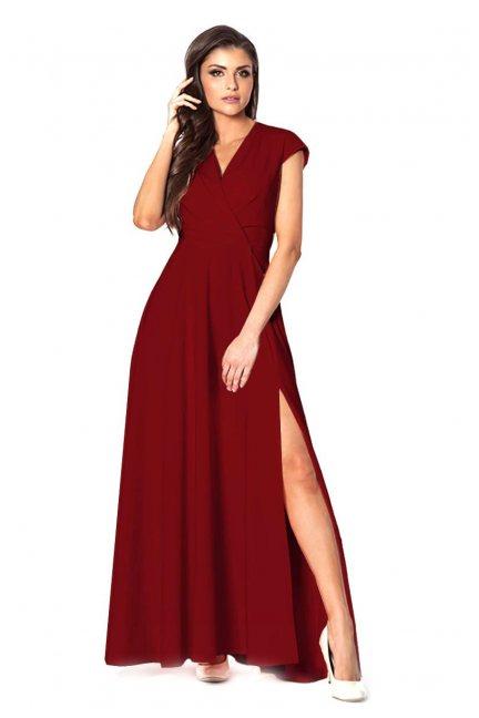 Sukienka modna maxi z dekoltem bordowa