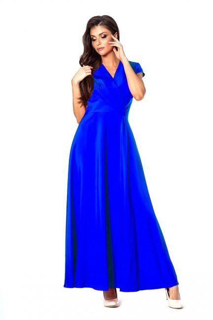 Sukienka modna maxi z dekoltem chabrowa