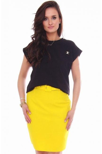 Spódnica dopasowana mini z paskiem żółta