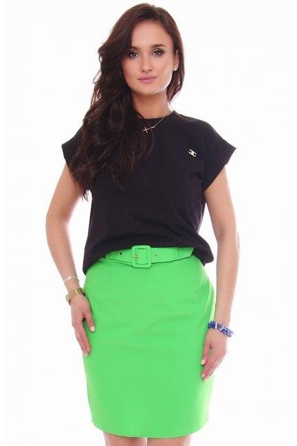 Spódnica dopasowana mini z paskiem zielona