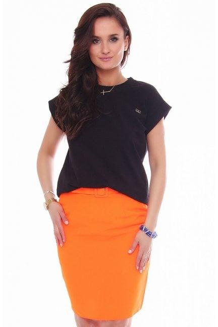 Spódnica dopasowana mini z paskiem pomarańcz