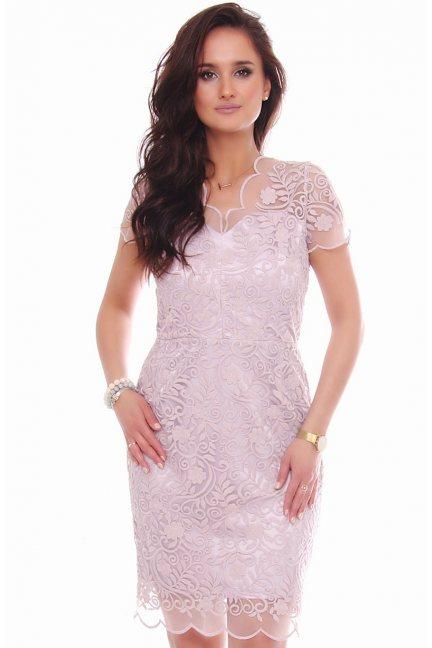 Sukienka midi ołówkowa z gipiurą różowa