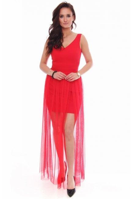 Sukienka maxi z rozporkiem tiulowa czerwona